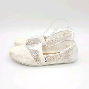 Toms Lace Sheer Alpargatas Flats Shoes